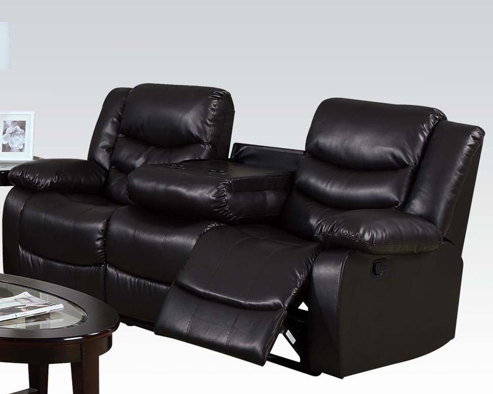 Sofa w drop down table torrance by acme furniture ac50575 for Sectional sofa with drop down table