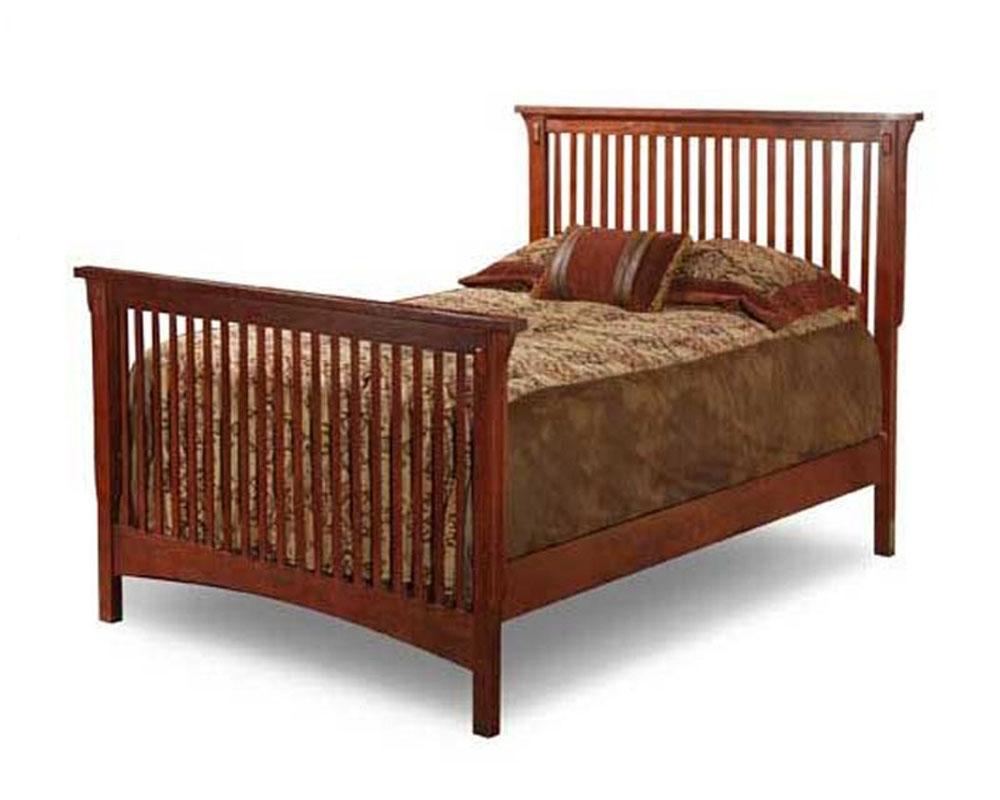 Solid oak mission style twin bed for Mission style bed frame plans