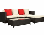 Outdoor Sectional Sofa Set in Espresso White by Modway MY-EEI966EW