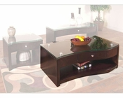 Sunny Designs Espresso Coffee Table with Glass Top SU-3177E-C