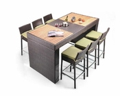 Table and Six Barstool Patio Bar Set 44P107-SET