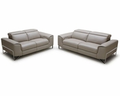 Taupe Italian Leather Reclining Sofa Set 44L5927