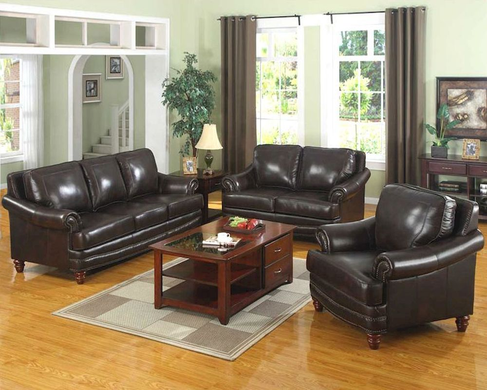 Traditional 3 pc Leather Sofa Set MO-BOL