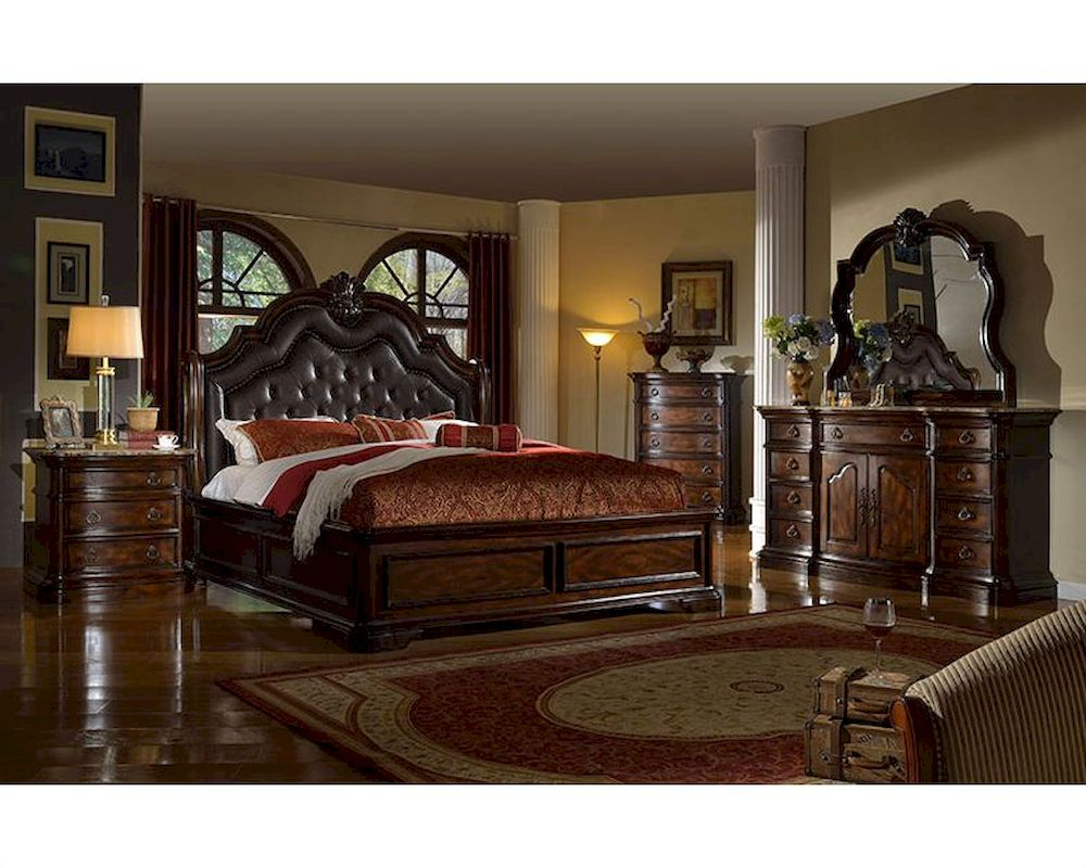 Traditional bedroom set w sleigh bed mcfb6002set for Bed and bedroom furniture sets