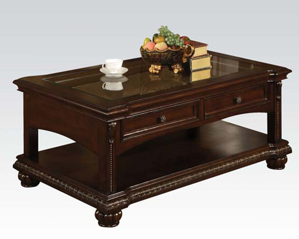 Traditional coffee table in cherry anondale by acme furniture ac10322 Traditional coffee table