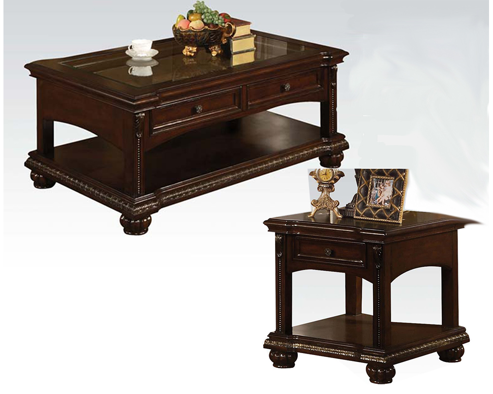Traditional coffee table set in cherry anondale by acme ac10322set Traditional coffee table