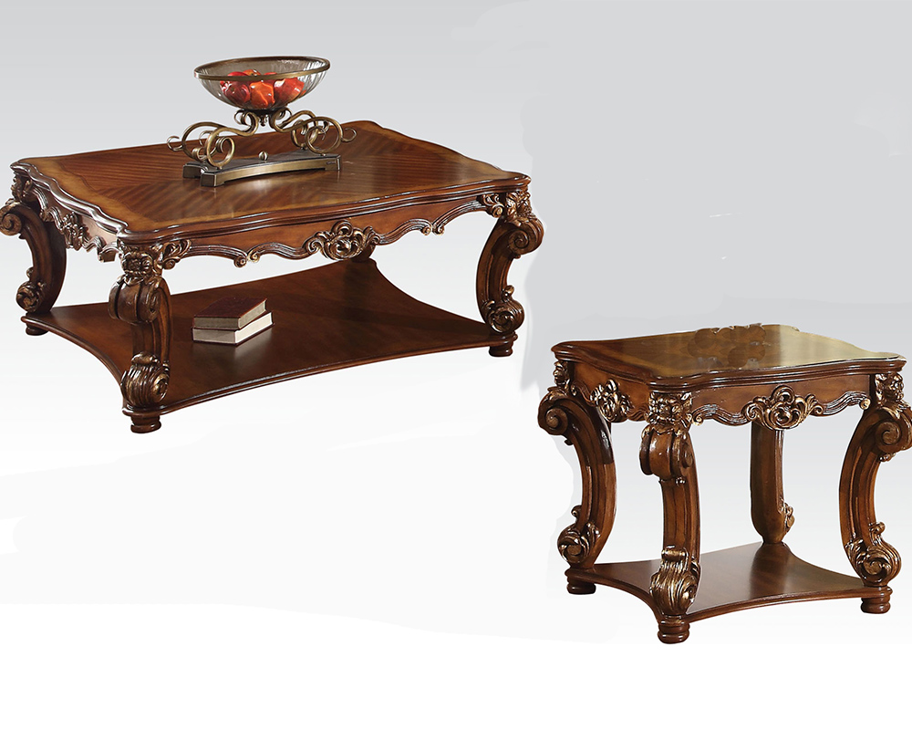 Traditional coffee table set vendome cherry by acme ac82002set Traditional coffee table