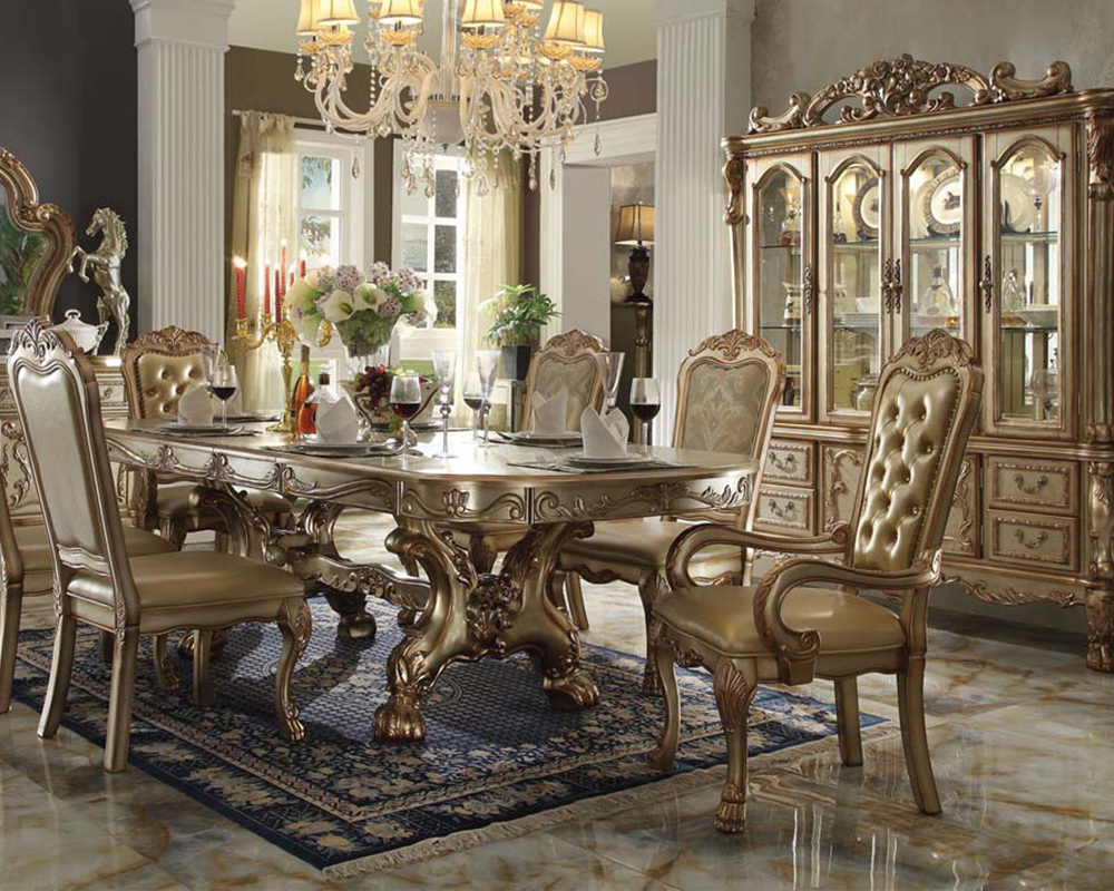 Traditional Dining Set Dresden Gold By Acme Furniture