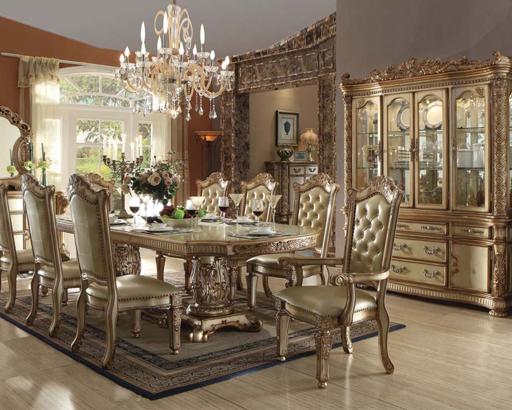 Traditional dining set vendome gold by acme furniture for Fancy dining room sets