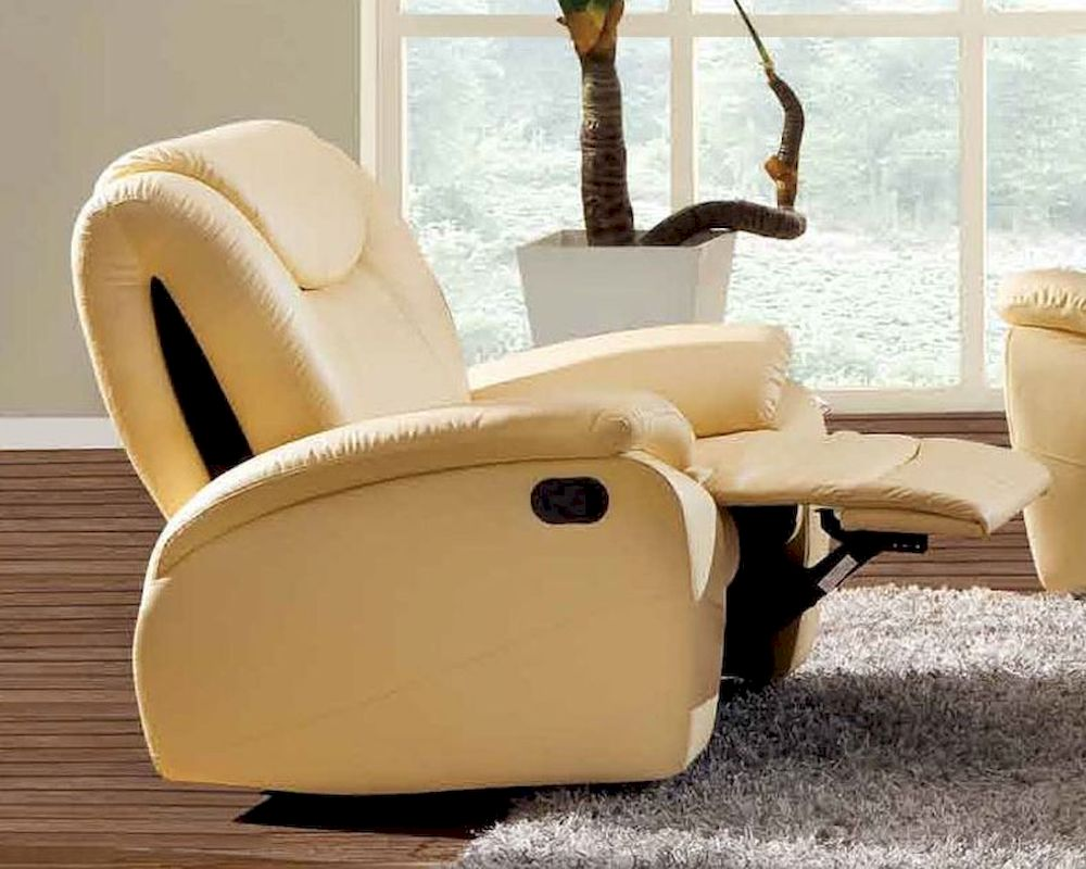 Traditional Leather Chair In Beige Color Esf33c