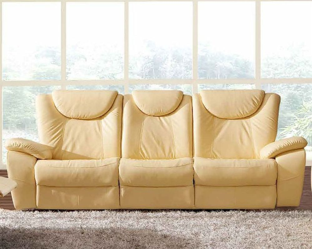 Traditional leather sofa in beige color esf33s for Traditional leather sectional sofa