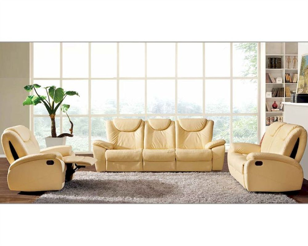 Traditional leather sofa set in beige color esf33set for Traditional leather sofas furniture