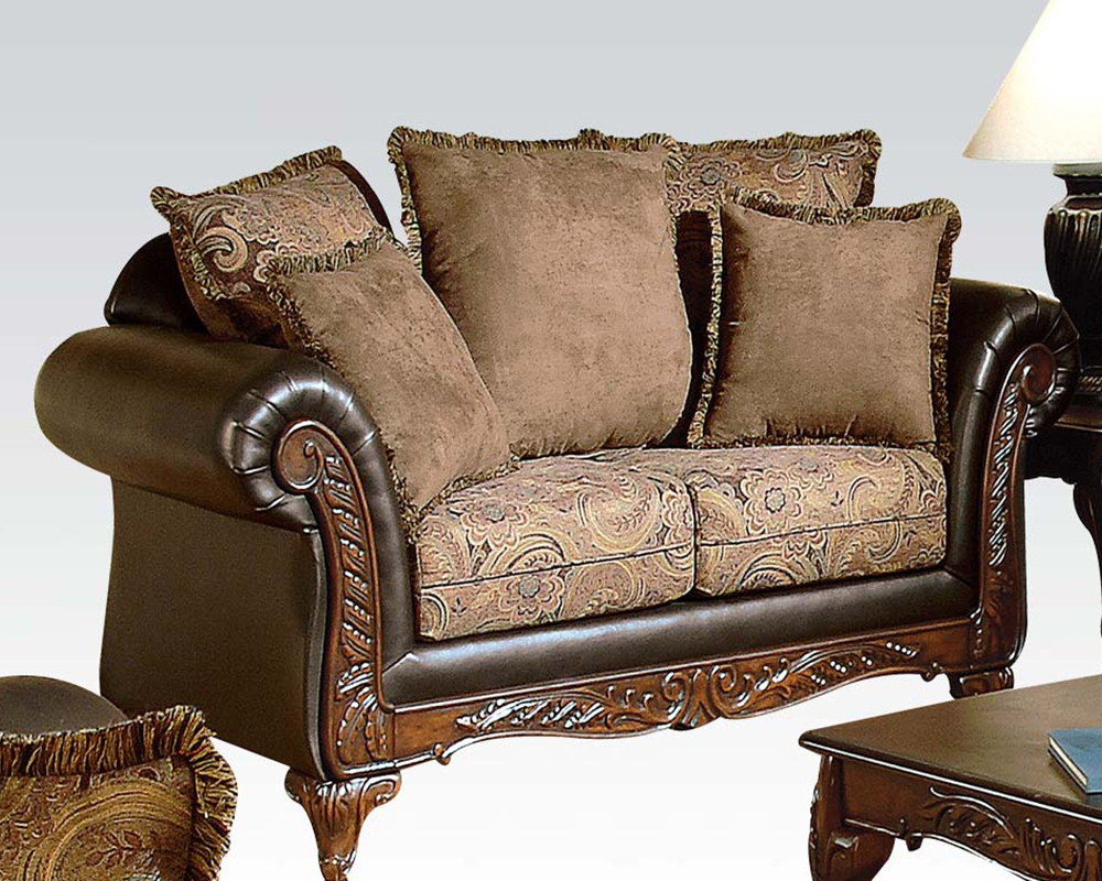 Traditional Sofa Pillows : Traditional Loveseat w/ 5 Pillows Fairfax by Acme AC50336