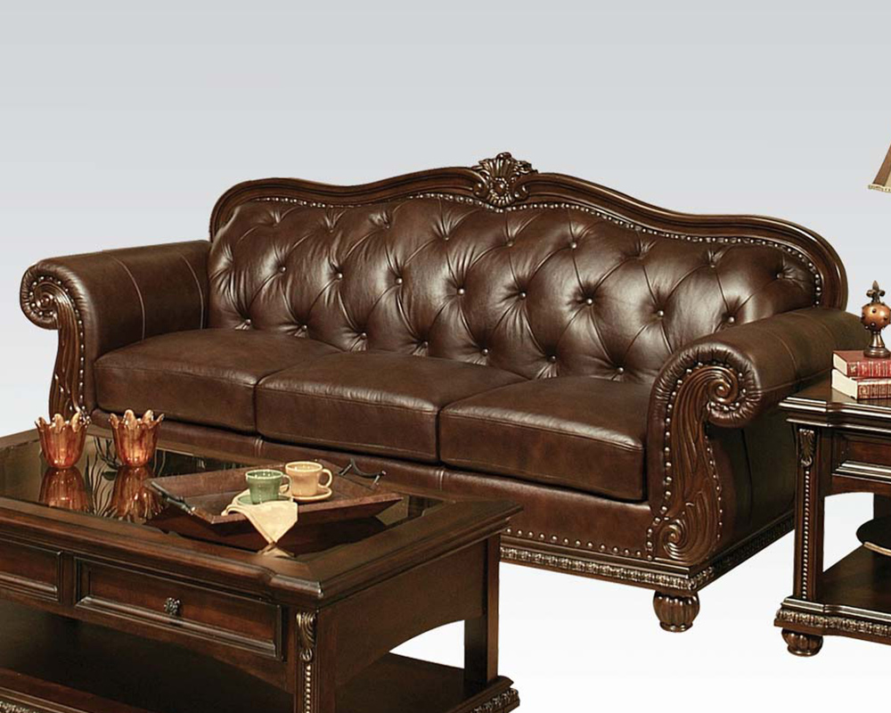 Traditional sofa in cherry anondale by acme furniture ac15030 for Traditional leather furniture
