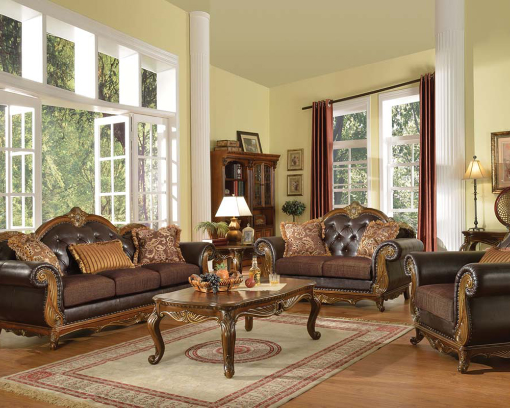 Traditional Sofa Set W 3 Pillows Dorothea By Acme Ac51590set