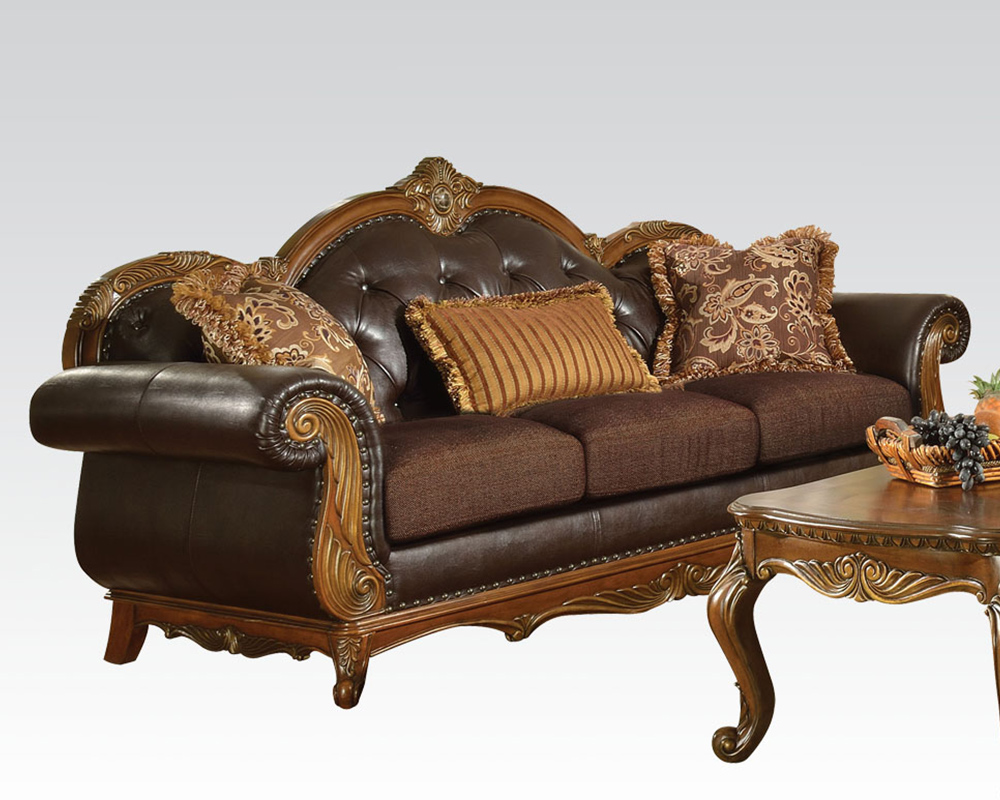Traditional Sofa Pillows : Traditional Sofa w/ 3 Pillows Dorothea by Acme Furniture AC51590