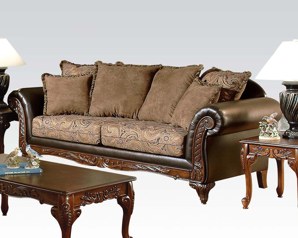 Traditional Sofa Pillows : Traditional Sofa w/ 6 Pillows Fairfax by Acme Furniture AC50335