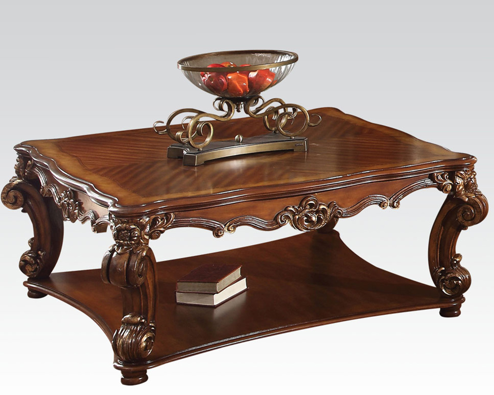 Traditional square coffee table vendome cherry by acme ac82002 Traditional coffee table