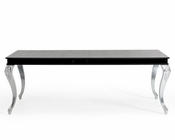 Transitional Black Crocodile Dining Table w/ Silver Legs 44D830-22TAB