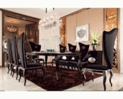Transitional Black Dining Set w/ Crocodile Table 44D830-220SET