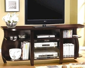 Transitional Media Console with Glass Doors and Shelves CO700659