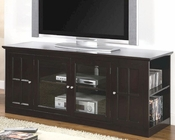 Transitional Media Console with Glass Doors Fullerton CO700656