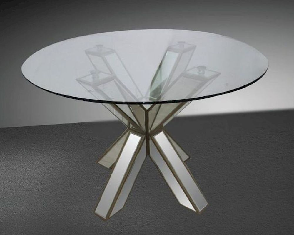 Transitional mirrored round glass dining table 44dgd1216 for Round glass dining table