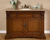 "Travertine Top Silkroad 48"" Single Sink Cabinet, Ceramic Sinks"