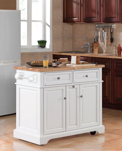Casual Home Kitchen Island With Solid Wood Top White