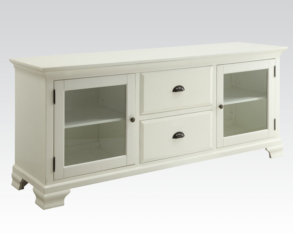 Tv stand in white by acme furniture ac91179 White tv console