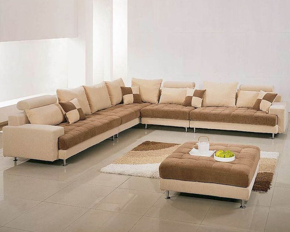 Two tone fabric contemporary sectional sofa set 44lg60b for Contemporary sofa set