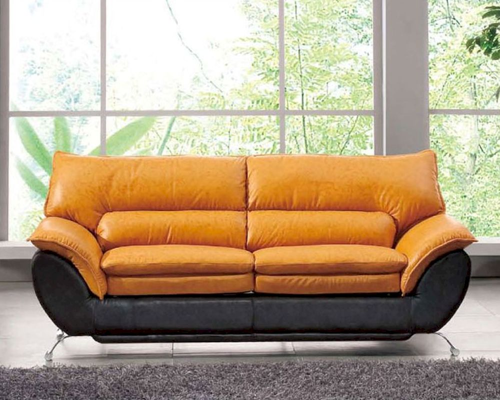 Two Tone Italian Leather Sofa Bed European Design 33ss222
