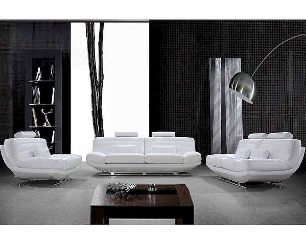Ultra Modern Design White Leather Sofa Set 44l0670