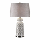 Uttermost Kansa Distressed White Table Lamp