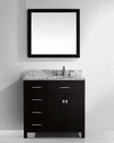 "Virtu USA 36"" Round Sink Bathroom Vanity Caroline VU-MS-2136L-WMRO-ES"