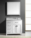 "Virtu USA 36"" Round Sink Bathroom Vanity Caroline VU-MS-2136L-WMRO-WH"