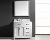 "Virtu USA 36"" Single Round Bathroom Vanity White VU-MS-2136R-WMRO-WH"