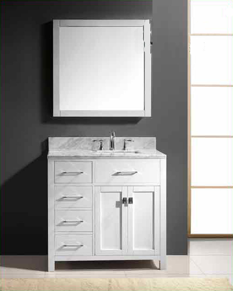 Virtu usa 36 square sink bathroom vanity caroline vu ms Virtu usa caroline 36 inch single sink bathroom vanity set