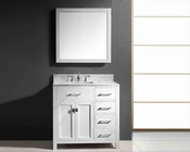"Virtu USA 36"" Single Square Bathroom Vanity White VU-MS-2136R-WMSQ-WH"