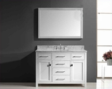 "Virtu USA 48"" Square Sink Vanity Caroline in White VU-MS-2048-WMSQ-WH"