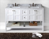 "Virtu USA 60"" Bathroom Vanity in White Winterfell VU-ED-30060-WMSQ-WH"