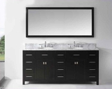 "Virtu USA 72"" Round Sinks Bathroom Vanity Caroline VU-MD-2172-WMRO-ES"