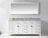 "Virtu USA 72"" Round Sinks Bathroom Vanity Caroline VU-MD-2172-WMRO-WH"