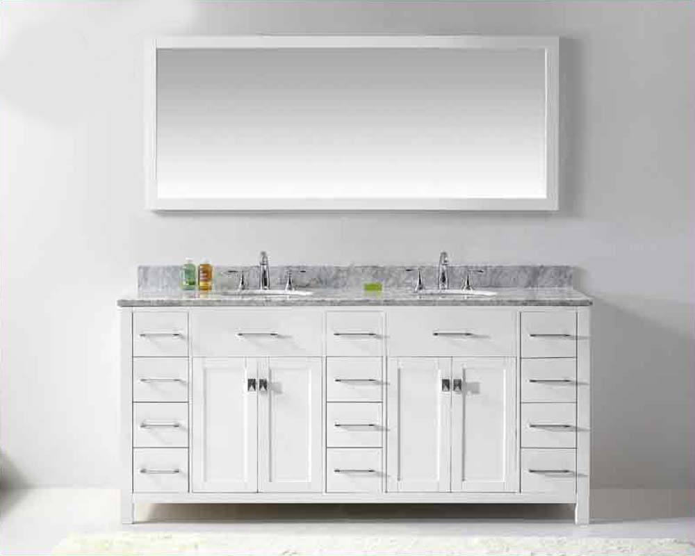 Virtu USA 72 Round Sinks Bathroom Vanity Caroline VU MD 2172 WMRO WH