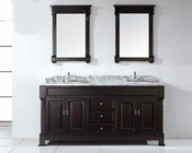 "Virtu USA 72"" Round Sinks Bathroom Vanity Huntshire VU-GD-4072-WMRO-DW"