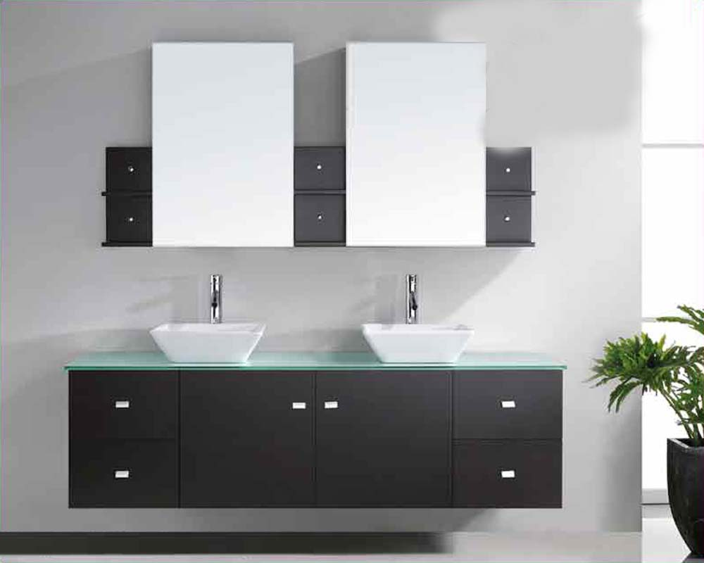 Virtu USA Double Sink Bathroom Vanity Clarissa Espresso VUMD - 72 inch modern bathroom vanity