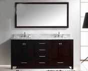 "Virtu USA 72"" Square Sink Bathroom Vanity Caroline VU-GD-50072-WMSQ-ES"
