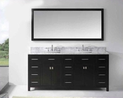 "Virtu USA 72"" Square Sinks Bathroom Vanity Caroline VU-MD-2172-WMSQ-ES"