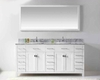 "Virtu USA 72"" Square Sinks Bathroom Vanity Caroline VU-MD-2172-WMSQ-WH"