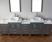 Virtu USA Zebra Grey 11in Double Bathroom Set Dior VU-KD-700110-S-ZG